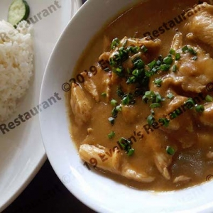 chicken smothered in peanut sauce